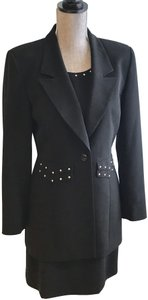 Rina Rossi Rina Rossi Black Embellished Dress and Jacket Suit (Size 6)