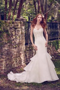 Maggie Sottero Ivory/Pewter Accent Cameo Organza Quintyn Traditional Wedding Dress Size 8 (M)