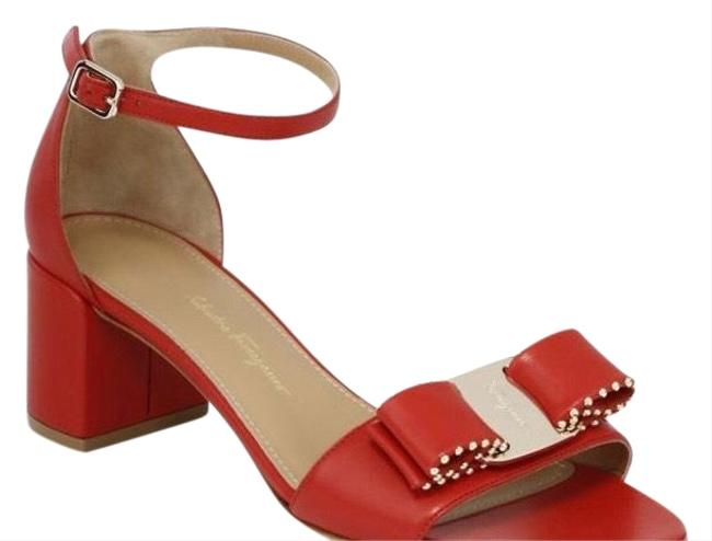 Item - Red Gavina Studded Ankle-strap Sandals Size US 7 Regular (M, B)