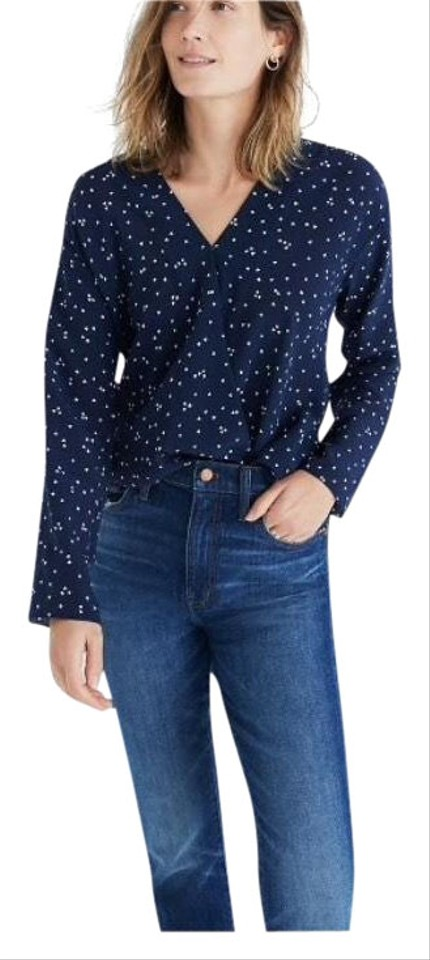 b78bd2baa6561b Madewell Blue and White Silk Wrap-front In Heart Flip Blouse Size 4 ...