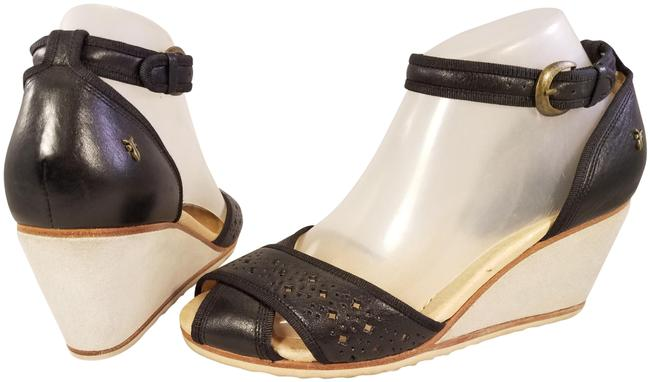 Item - Black/Beige Stunning Woman Open Toe Ankle Strap Leather Wedges Size US 7.5 Regular (M, B)