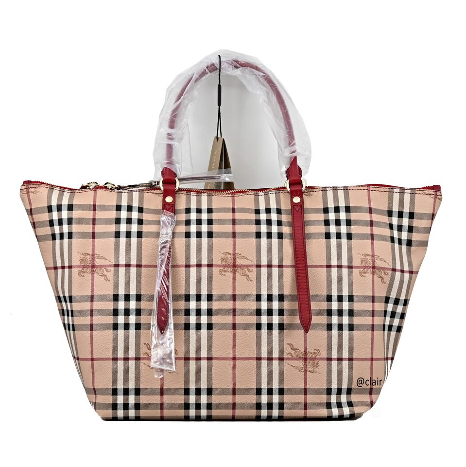 ebbb17f1e16a Burberry Medium Salisbury Military Red Haymarket Check Leather Tote ...