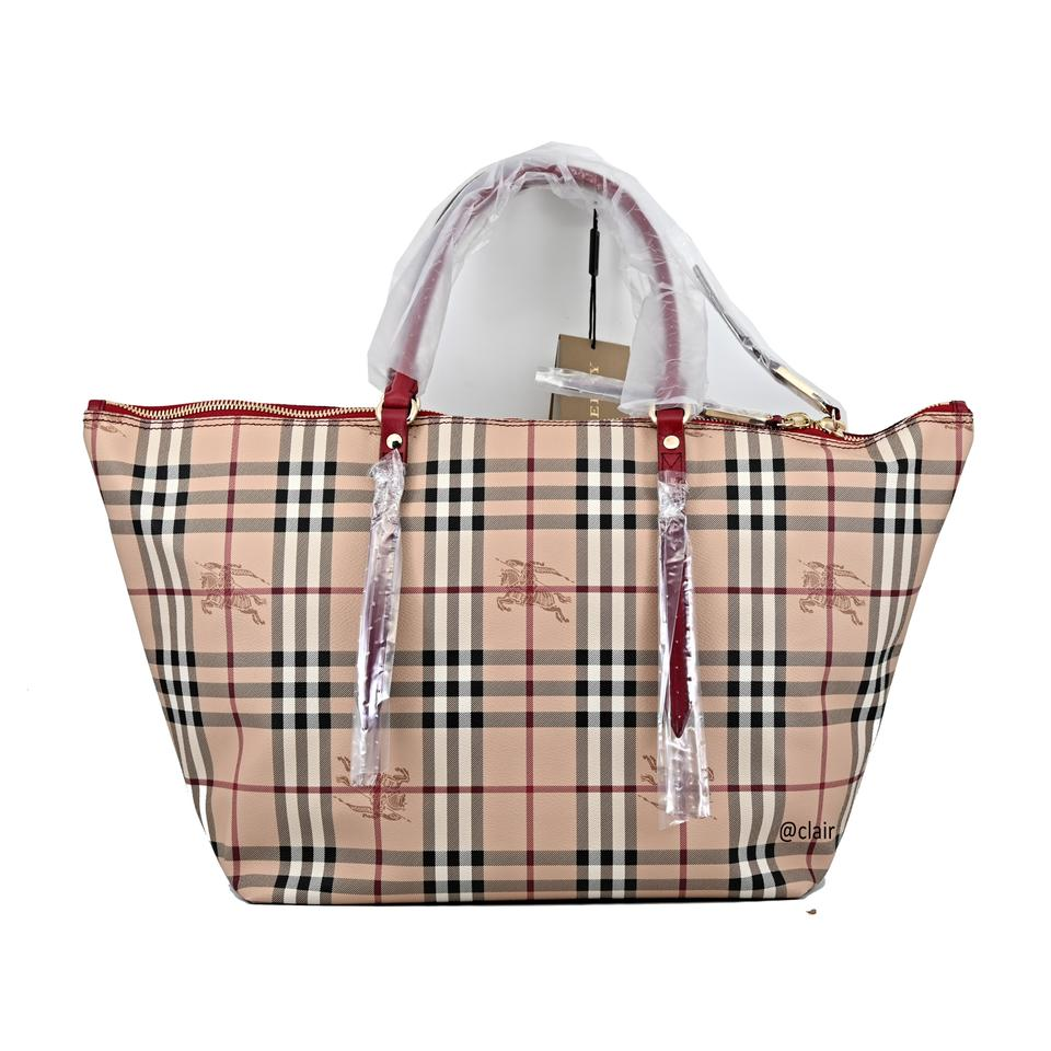 887c951313c9 Burberry Medium Salisbury Military Red Haymarket Check Leather Tote ...
