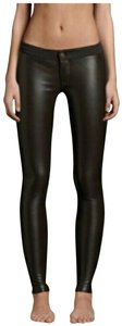 Hollister Silhouette Zip/Shank Closure Embroidered Pockets Bronze Hardware Knit/Faux Leather Jeggings