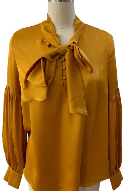 Item - Mustard And La La Scarf-tie Blouse Size 4 (S)