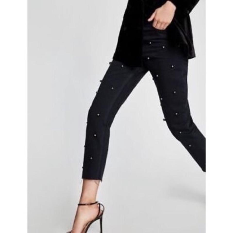 21c4210043 Zara Black High Rise Mom with Tulle and Pearls Straight Leg Jeans Size 4  (S, 27)