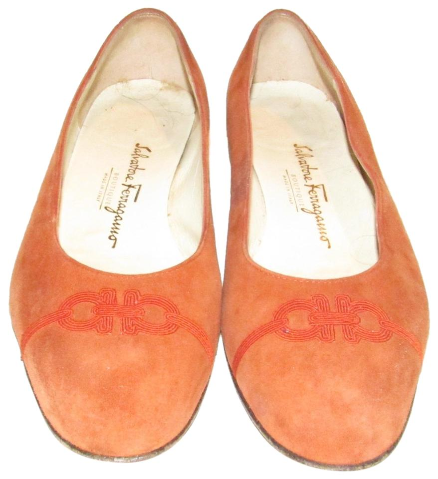 7a807d33a094 Salvatore Ferragamo Orange Suede with Red Embroidered Gancini Accents At  The Toes Ballet Flats