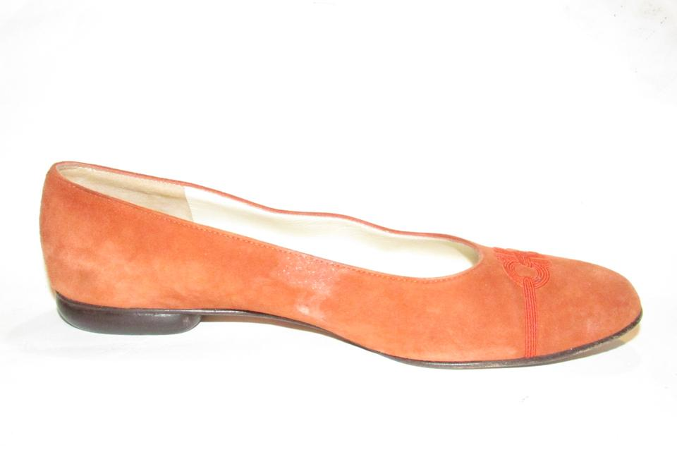 afd0cd12c Salvatore Ferragamo Ballet Almond Shaped Sewn orange suede with red  embroidered Gancini accents at the toes. 123456789101112