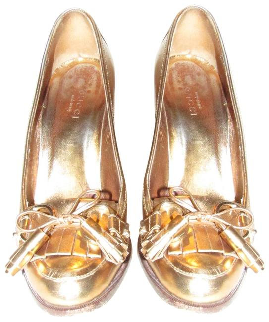 Item - Gold Metallic Leather Marrakech Loafer Style with Tassels Pumps Size US 5.5 Regular (M, B)