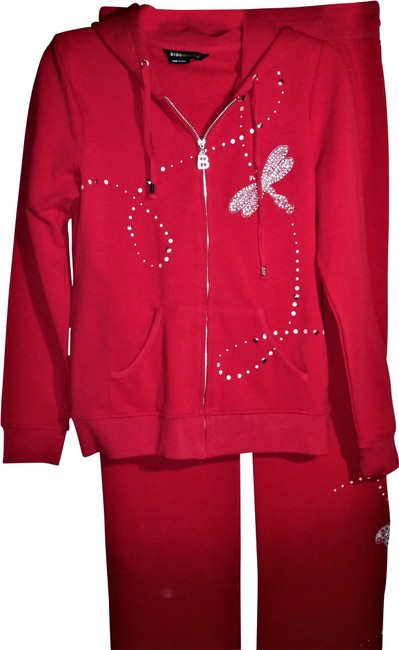 Item - Red with Silver Tracksuit Activewear Size 14 (L)