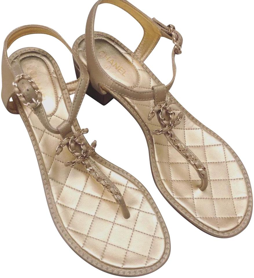 cc61152225c5 Chanel Gold Bnib Thong  Sandals Size EU 40.5 (Approx. US 10.5 ...