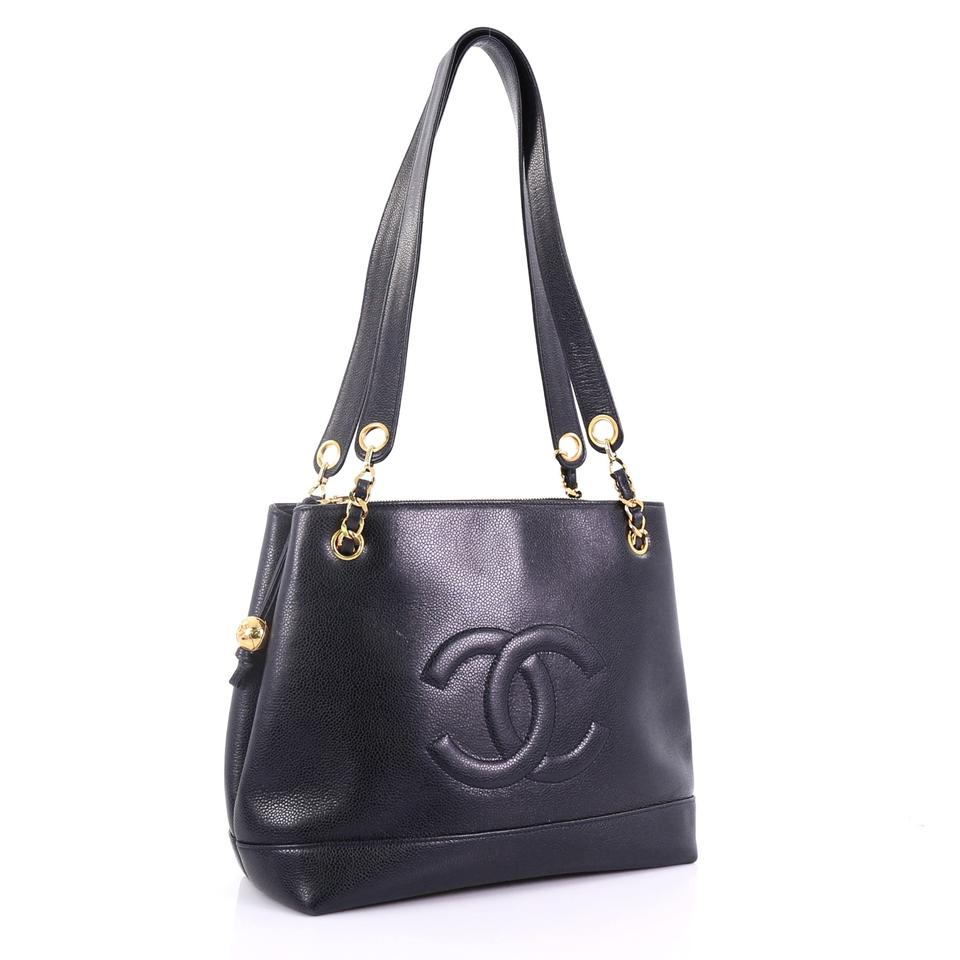 2f5a87a10cb9 Chanel Tote Vintage Timeless Chain Caviar Medium Black Leather ...