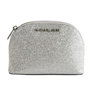 b59b6ec0e3a3 Michael Kors Michael Kors Silver Glitter Leather Jet Set Dome Cosmetic  Pouch Bag