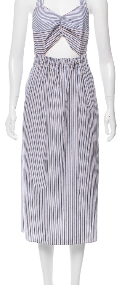 5ebcefc4f3b6 See by Chloé Multicolor Women s Blue Cutout Striped Cotton Casual Maxi Dress
