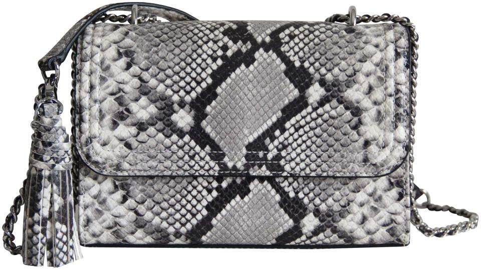 bb9b421a4a7 Tory Burch Fleming Small Snakeskin Embossed Gray Leather Shoulder ...