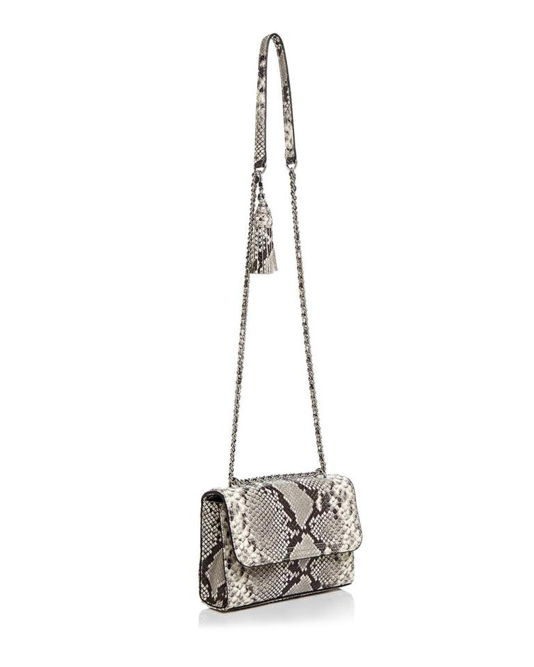 dc267b623e1 Tory Burch Fleming Small Snakeskin Embossed Gray Leather Shoulder Bag -  Tradesy