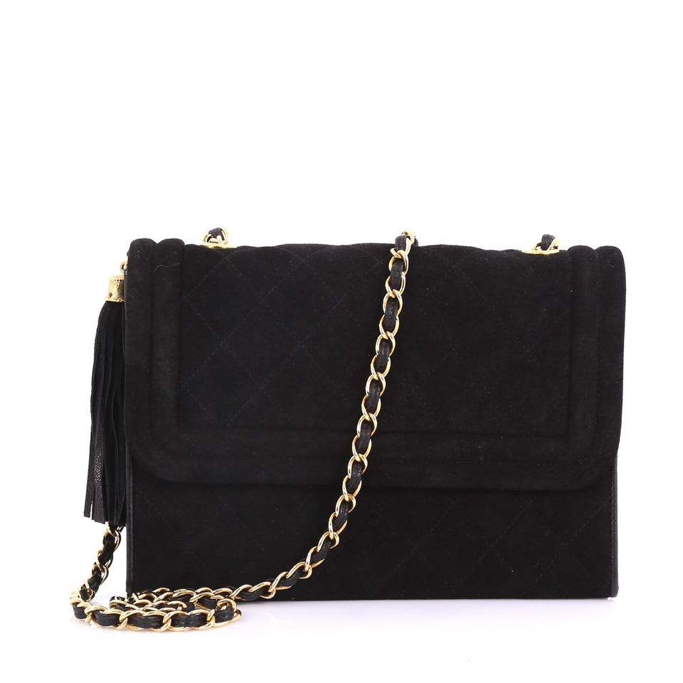 4cd2c129f155 Chanel Classic Flap Vintage Tassel Quilted Small Black Suede ...