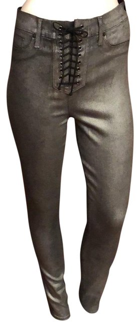 Item - Carbon Steel Coated High Rise Bullocks Lace Up 28 Skinny Jeans Size 6 (S, 28)