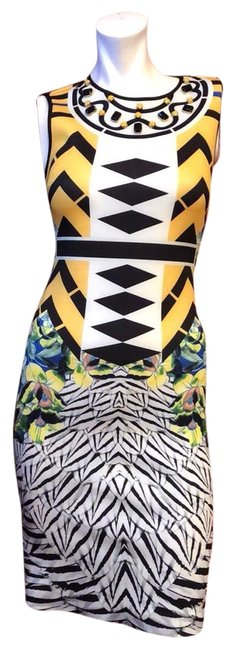 Item - Yellow Multi Toucan Embellished Neck Short Cocktail Dress Size 4 (S)