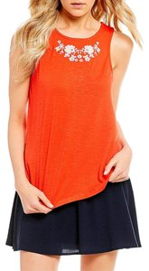 Copper Key Embroidered Summer Spring Top red