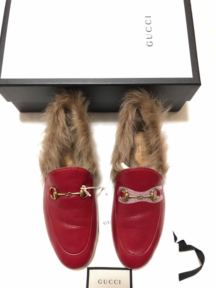 Gucci Red Women s Jordaan Leather Loafer with Fur In Flats Size EU ... 4ba0f81b40