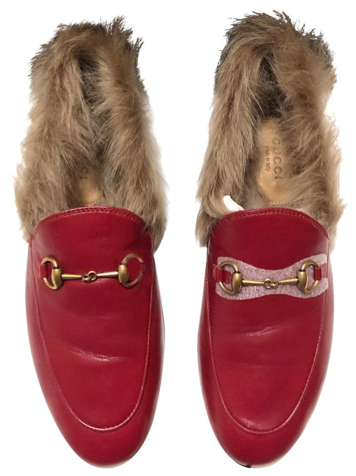 7607ff192 Gucci Red Women s Jordaan Leather Loafer with Fur In Flats. Size  EU 39 ...