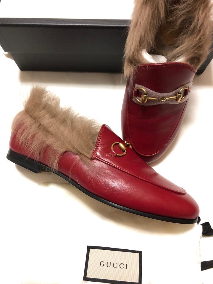 f28b9a282a1 Gucci Red Women s Jordaan Leather Loafer with Fur In Flats Size EU 39  (Approx. US 9) Regular (M
