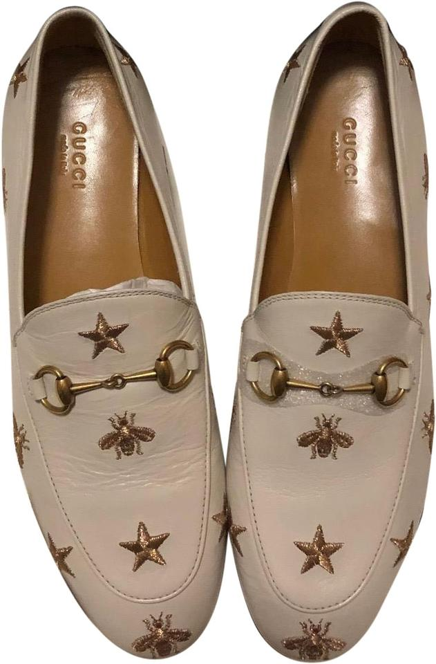 7f4488b78b3 Gucci White Women s Jordaan Embroidered Leather Loafer In Flats Size ...