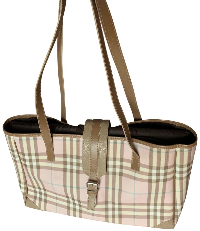 4fe58bac174 Burberry Check Shoulder Tote Pink Diaper Bag - Tradesy