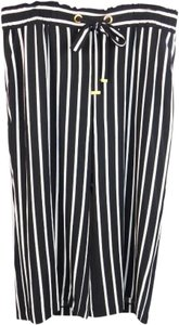 Michael Kors Stripes Flow Palazzo Wide Leg Pants White/Black