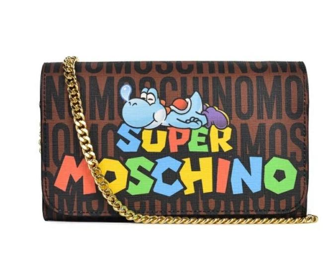 Item - Super Mario Bros Logo Chain Wallet Brown/Multi-colored Leather Clutch