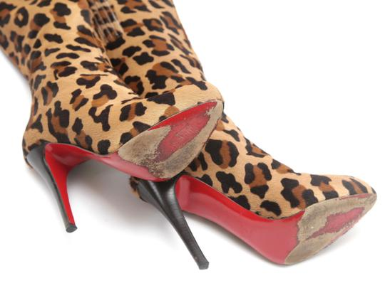 Christian Louboutin Leopard Print Pony Hair Knee High Leopard Brown Boots