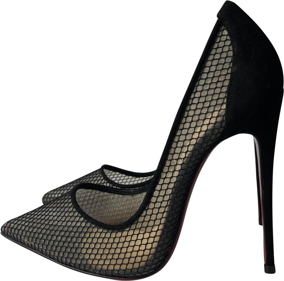 newest 3dc6a 6178d Christian Louboutin Black Follies Resille 120 Fishnet Suede Pumps Size EU  36 (Approx. US 6) Regular (M, B) 35% off retail