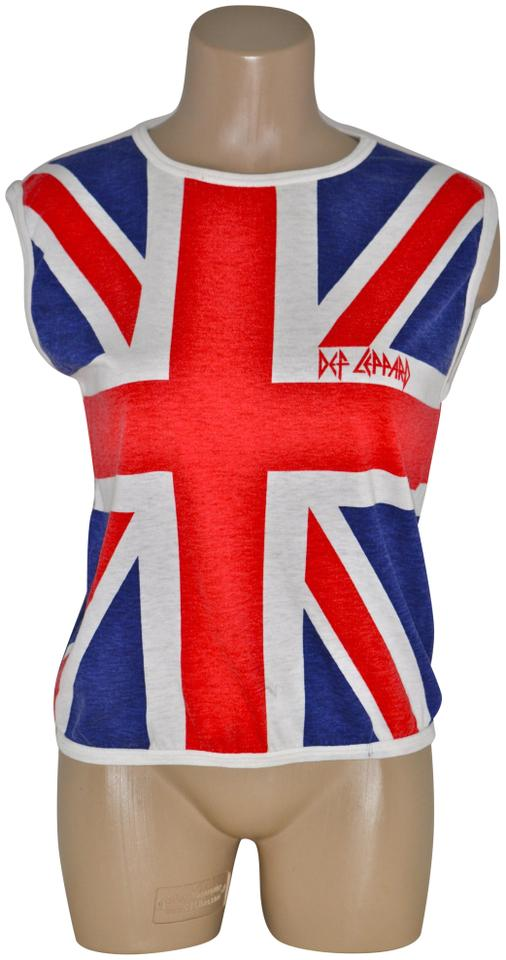 Red White Blue Vintage 80s Def Leppard Union Jack Sleeveless Rock