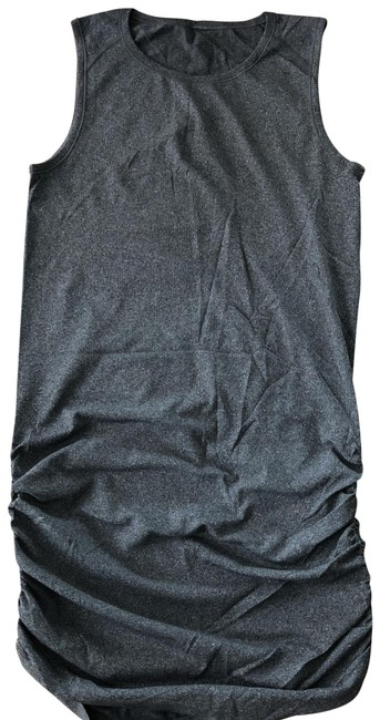 Item - Charcoal Grey Rouched Short Casual Dress Size 6 (S)