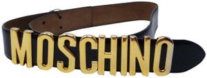 Moschino Black leather Moschino gold-tone letter logo buckle belt