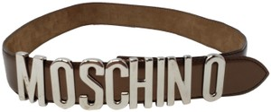 Moschino Gold-tone leather Moschino letter logo buckle waist belt