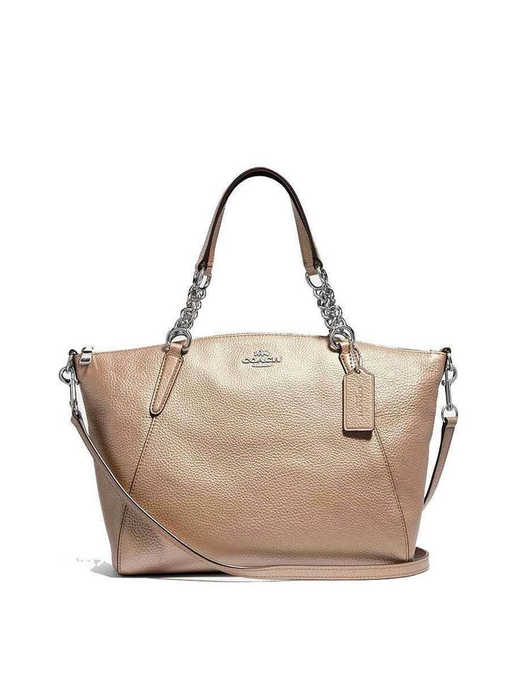 dcbb4877c4 Coach Kelsey F31409 Small Chain In Pebble Metallic Platinum Gold Leather  Satchel