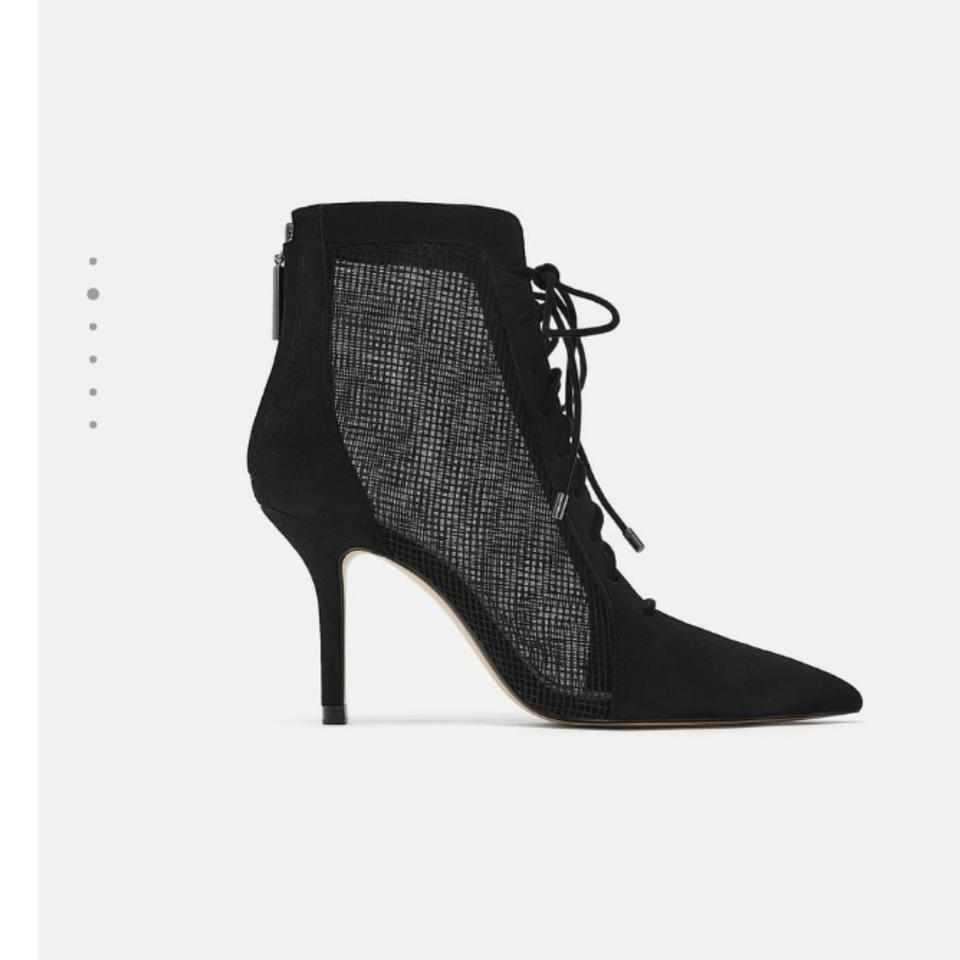 brand quality competitive price fresh styles Zara Black New with Tags Mesh Leather High Heel Ankle Boots/Booties Size US  9 Regular (M, B)