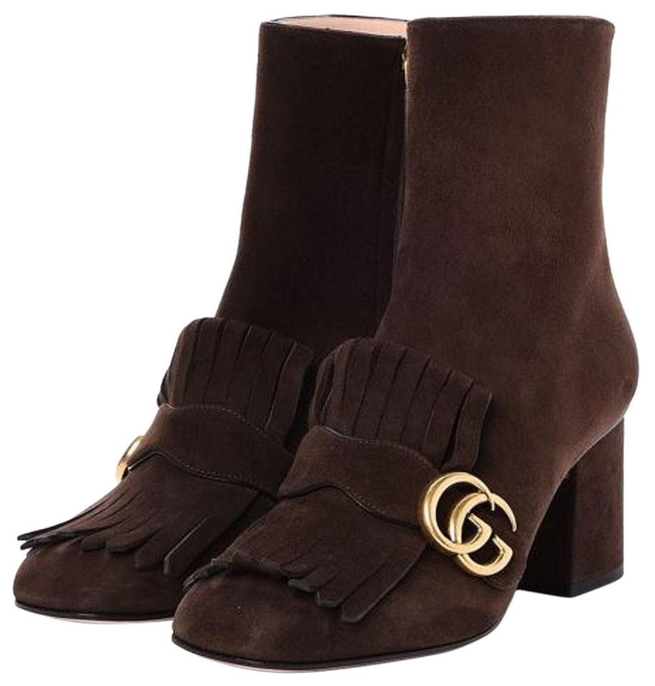 16500ef67 Gucci Brown Marmont Gg Suede Fringe Ankle Boots/Booties Size EU 37 ...