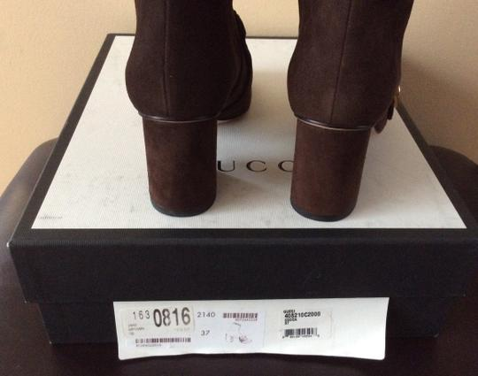 Gucci Marmont Logo Suede Brown Boots