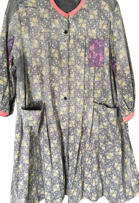 Item - Grey Floral Duster Mid-length Short Casual Dress Size OS (one size)