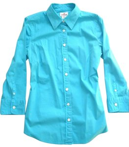 J.Crew Haberdashery Turquoise Teal 3/4 Sleeve Button Down Shirt Blue