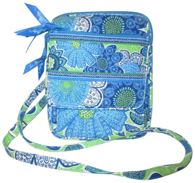 Item - Mini Hipster Blue & Green Multi Cotton Cross Body Bag