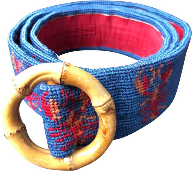 Item - Royal Blue Red Yellow Bamboo Buckle Needlepoint Belt