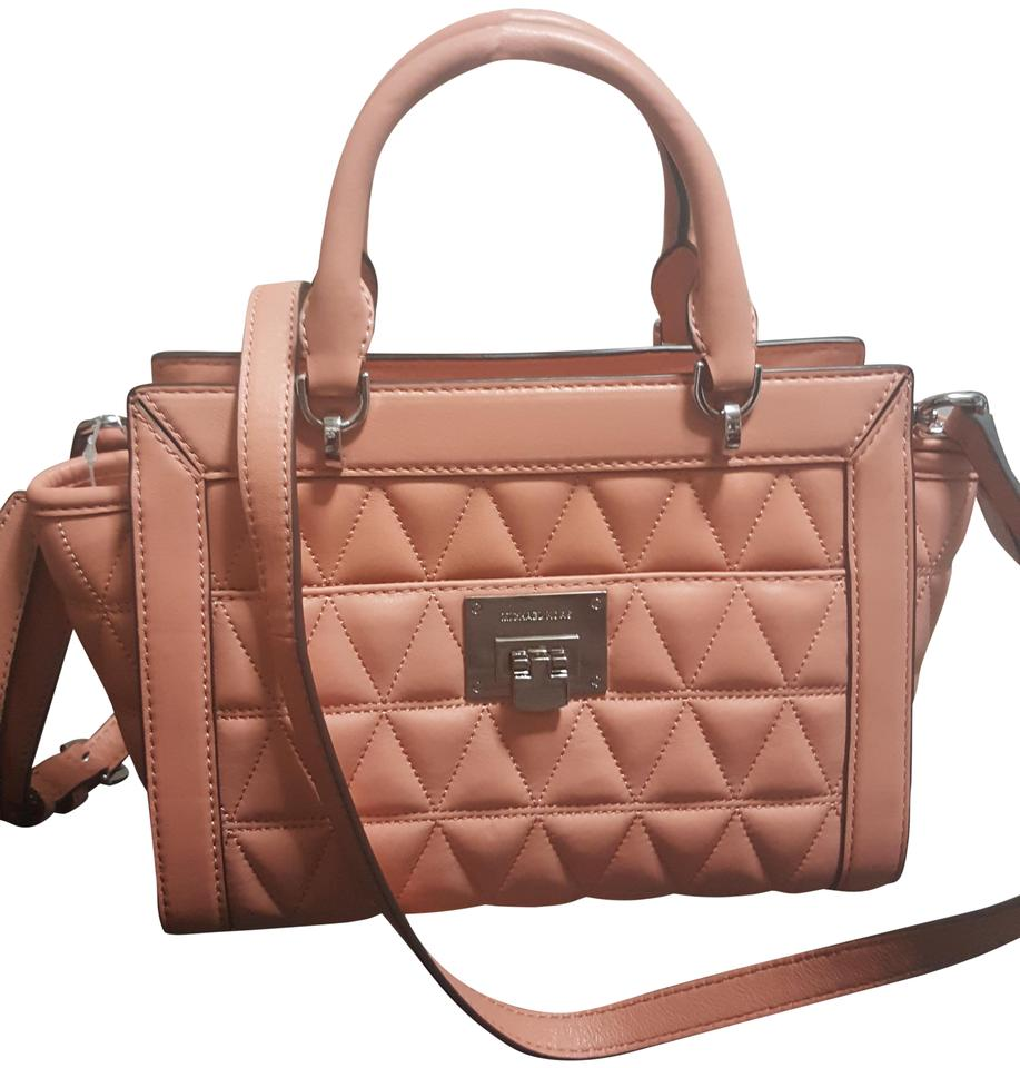 f795feec5 MICHAEL Michael Kors Vivianne Small Top Zip Peach Quilted Leather ...