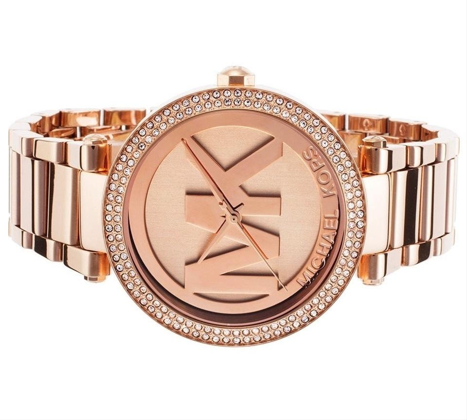 7d0ac0c6a924 Michael Kors Rose Gold Parker Stainless Mk Logo Crystal Glitz Dial Mk5865  Watch - Tradesy