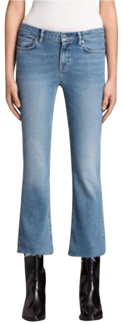 Item - Blue Light Wash Cropped Raw In Indigo Boot Cut Jeans Size 12 (L, 32, 33)