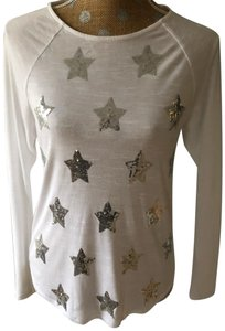 INC International Concepts T Shirt White with Silver Sequins