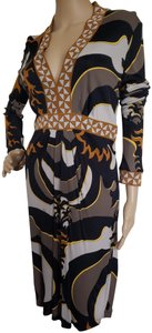 Emilio Pucci Leopard Animal Print Longsleeve Embroidered Floral Dress